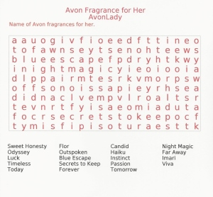 Avon Fragrance Word Search