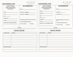Avon Referral Card