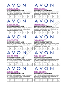 Avon Skin So Soft Club Card