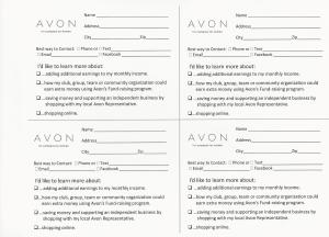 Avon Survey Cards