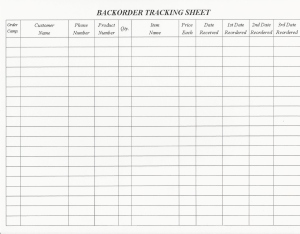 Backorder Tracking Sheet